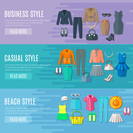Illustration pour Fashion styles collection banners set of business beach and casual woman clothes flat vector illustration - image libre de droit