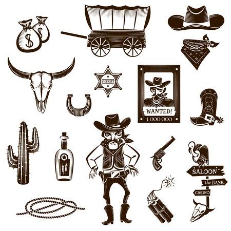 Illustration pour Cowboy black white icons set with Wild West symbols flat isolated vector illustration - image libre de droit