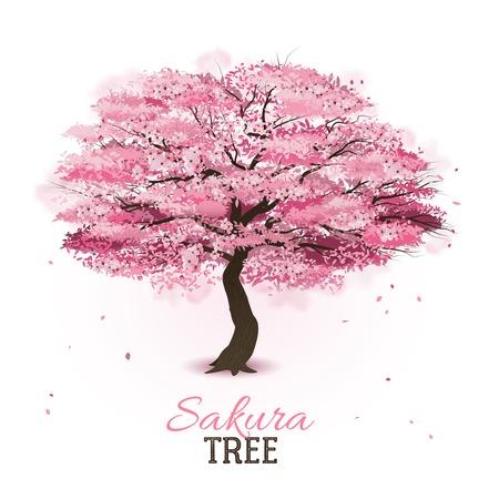 Illustration pour Realistic pink blossoming spring japanese sakura cherry tree vector illustration - image libre de droit