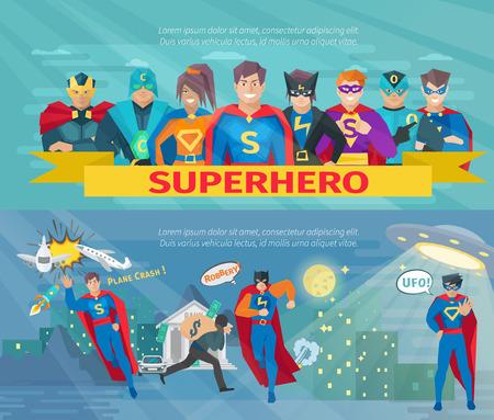Ilustración de Superhero team horizontal banners set with saving the world symbols flat isolated vector illustration - Imagen libre de derechos