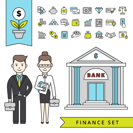 Illustration for Flat finance concept with businessman and his employee near bank building and financial icons set isolated vector illustration - Royalty Free Image