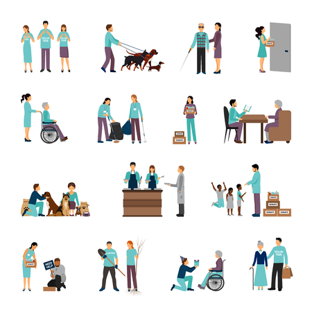 Illustration for Volunteers set with people helping seniours social support flat icons isolated vector illustration - Royalty Free Image