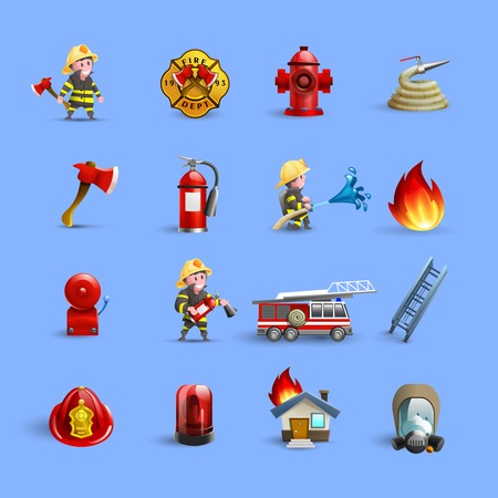 Fire department firefighting brigade service ammunition and accessories modern styled cartoon red icons set isolated vector illustration