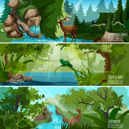 Illustration pour Greenwood tropical forest landscape 3 horizontal banners set with lizard deer and conifers abstract isolated vector illustration - image libre de droit