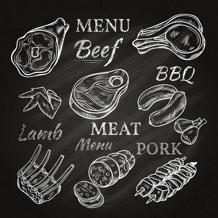 Illustration pour Retro meat menu icons on chalkboard with lamb chops sausage wieners pork ham skewers gastronomic products isolated vector illustration - image libre de droit