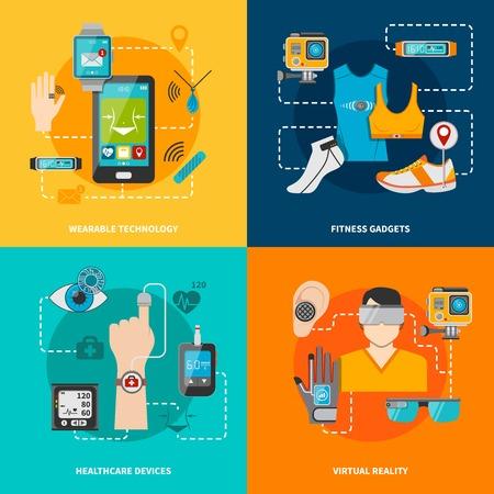 Ilustración de Smart technology set for healthcare fitness virtual reality wearable technology vector illustration - Imagen libre de derechos