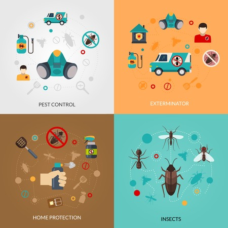 Illustration pour Home pest control services 4 flat icons square composition for detecting exterminating insects and rodents abstract isolated vector illustration - image libre de droit
