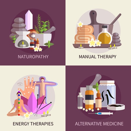 Vektor für alternative medicine design concept set with elements of naturopathy manual and energy therapies vector illustration - Lizenzfreies Bild