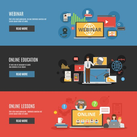 Illustration for Online education flat horizontal banners with online lessons and  webinar decorative icons vector illustration - Royalty Free Image