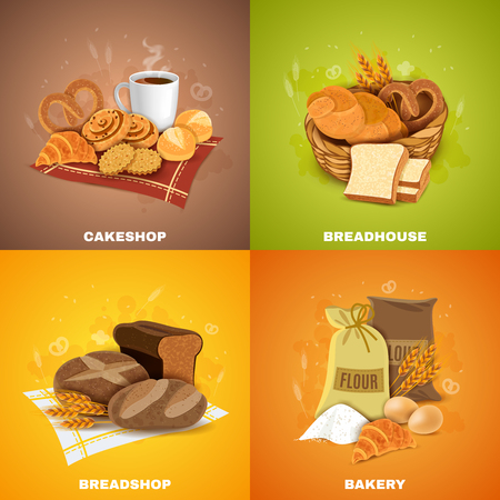 Vektor für Bakery shop for best quality bread and pastry 4 flat icons square composition banner abstract vector illustration - Lizenzfreies Bild