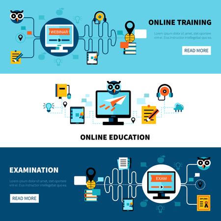 Illustration for Flat horizontal online education banners collection of distance learning and examination vector illustration - Royalty Free Image