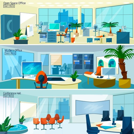 Office interiors horizontal banners set with conference hall and open space office with modern furniture vector illustration