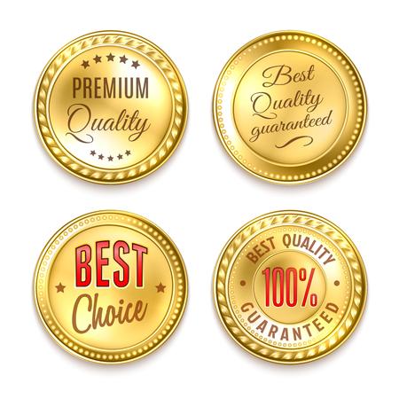 Illustration pour Best choice quality premium 4 round golden labels collection realistic isolated vector illustration - image libre de droit