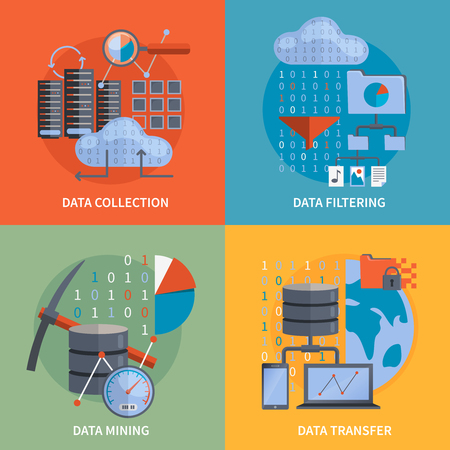 Illustration for Data processing 2x2 flat design concept set of collection filtering mining  transfer data vector illustration - Royalty Free Image
