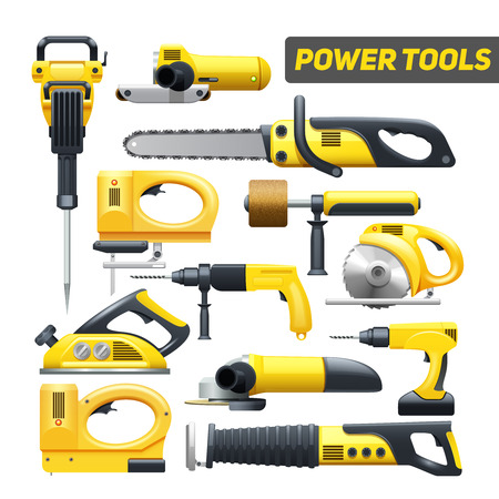 Illustration pour Electric power construction worker tools flat pictograms set in black and yellow abstract isolated vector illustration - image libre de droit