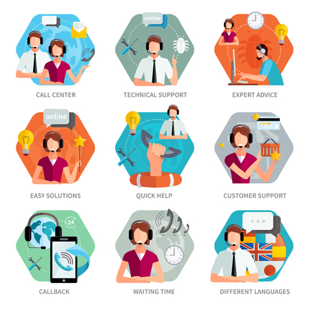Illustration pour Customer support flat emblems set with Technical support call center and quick help sign isolated vector illustration - image libre de droit