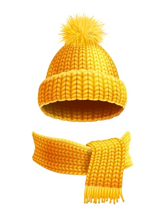 Illustration pour Modern winter knitted beanie hat with pompon and scarf set in yellow golden realistic pictogram vector illustration - image libre de droit