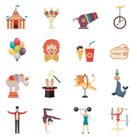 Illustration for Circus performance flat color icons set with clown balloons tent acrobat and trained animals isolated vector illustration - Royalty Free Image