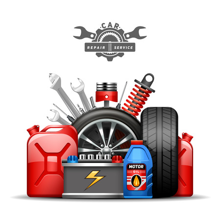 Ilustración de Car service center colorful advertisement composition poster with wheels tires oil and gas canister flat abstract vector illustration - Imagen libre de derechos