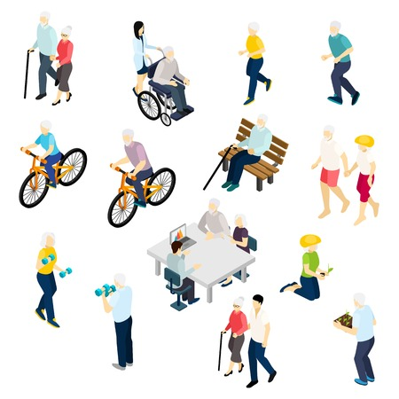 Photo for Pensioners life isometric set with health and activity symbols isolated vector illustration - Royalty Free Image