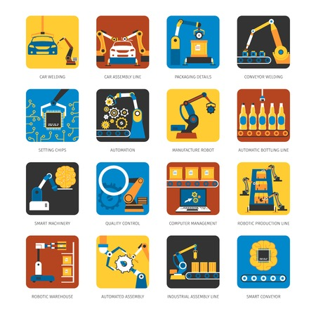 Illustration pour Industrial automated assembly line flat icons set with computer controlled manufacturing machinery robots abstract isolated vector illustration - image libre de droit