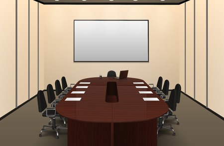 Ilustración de Conference room interior with big table and screen realistic vector illustration - Imagen libre de derechos
