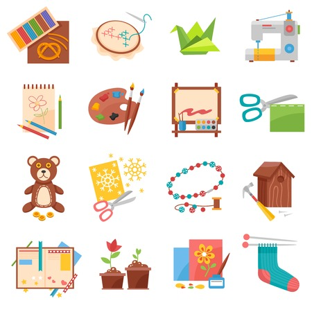 Illustration pour Hobbies flat icons set with sewing origami making and beading isolated vector illustration - image libre de droit