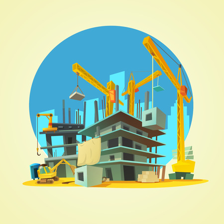 Photo pour Construction with building crane and excavator on yellow background cartoon vector illustration - image libre de droit