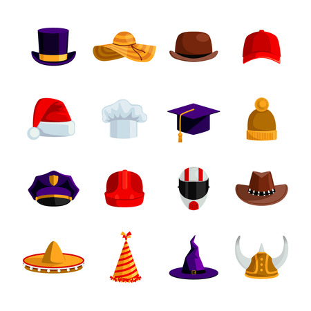 Illustration for Hats and caps flat color icons set of sombrero bowler square academic hat baseball cap straw hat santa claus and clown caps isolated vector illustration - Royalty Free Image