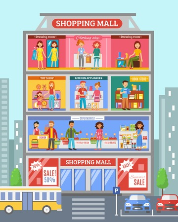 Shopping mall center store section with grocery and clothing  departments sale customers poster abstract flat vector illustration