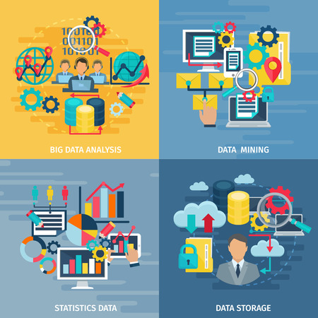 Illustration for Big data mining analysis and storage technology 4 flat icons square composition banner abstract isolated illustration vector - Royalty Free Image