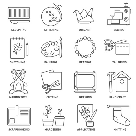 Illustration pour Hobby flat line icons set with sketching painting gardening symbols isolated vector illustration - image libre de droit