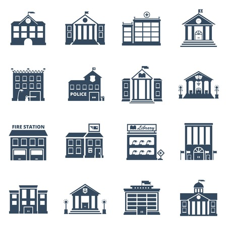 Illustration pour Government building black icons set of fire station library prison post office isolated vector illustration - image libre de droit