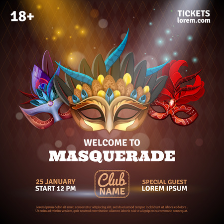 Illustration pour Masquerade realistic poster with party tickets and club symbols vector illustration - image libre de droit