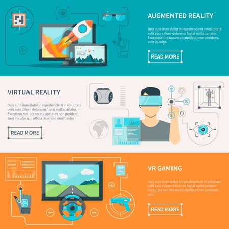 Ilustración de Augmented reality by electronic glass virtual reality wear and VR gaming with controllers flat horizontal banners vector illustrations - Imagen libre de derechos