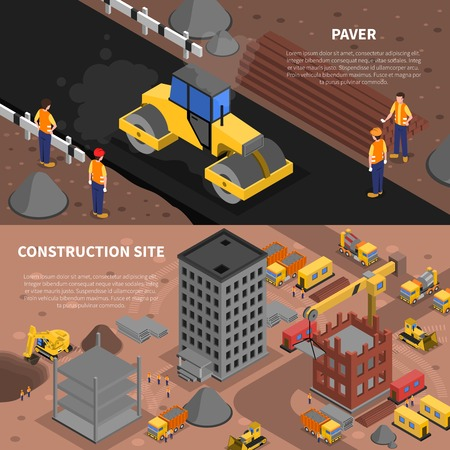 Illustration for Construction isometric horizontal banners set with construction site symbols isolated vector illustration - Royalty Free Image