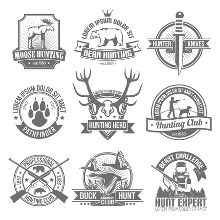 Black hunting emblems set with club ribbons and images hunter knife deer traces beast  antlers  aiming hunter with dog isolated vector illustration