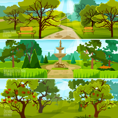 Garden landscape banners set of city park for relaxation orchard and park in versatile style flat compositions vector illustration