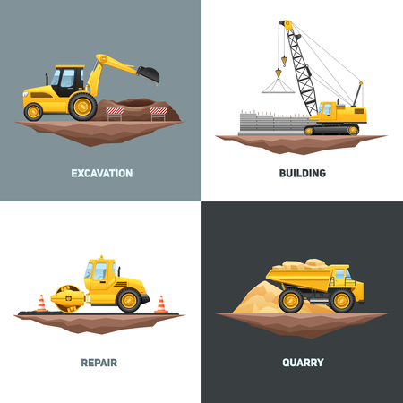Photo for Building construction machinery 4 flat icons design with yellow crane excavator and truck abstract isolated vector illustration - Royalty Free Image