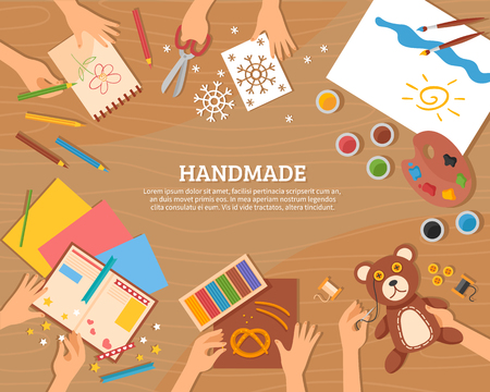 Illustration pour Handmade concept in flat style with children drawings plasticine color paper watercolor and skillful hands vector illustration - image libre de droit