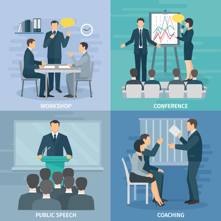 Illustration pour Public speaking skills coaching workshop presentation and conference 4 flat icons composition square abstract isolated illustration vector - image libre de droit