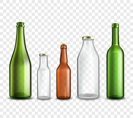 Illustration pour Glass bottles realistic 3d set isolated on transparent background vector illustration - image libre de droit