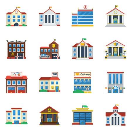 Illustration pour Government buildings flat color icon set of theatre restaurant hospital museum isolated vector illustration - image libre de droit