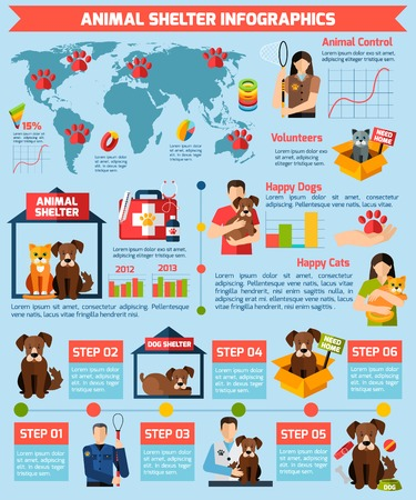 Animal shelter infographics with pet health care and volunteer work symbols vector illustration