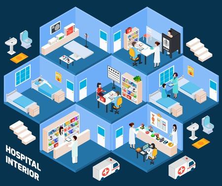 Vektor für Hospital isometric interior with medical staff and patients vector illustration - Lizenzfreies Bild