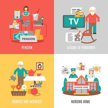 Pension hobbies and interests leisure of pensioner and nursing home 2x2 images set flat vector illustration