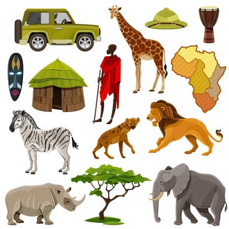 Ilustración de Africa cartoon icons set with zebra lion and hippo isolated vector illustration - Imagen libre de derechos