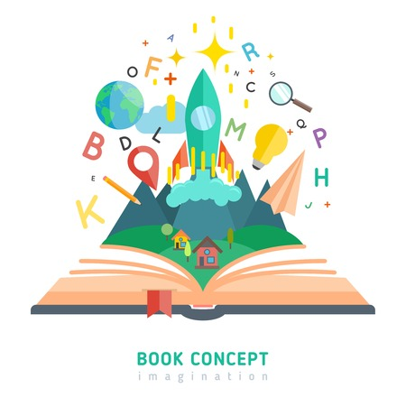 Illustration pour Book concept with flat imagination and education symbols vector illustration - image libre de droit