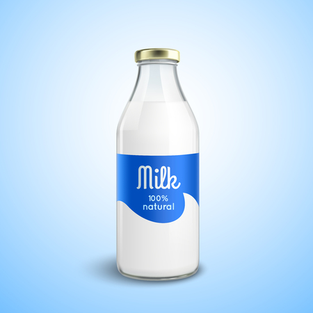 Vektor für Closed traditional glass bottle of natural milk with glossy cap isolated vector illustration - Lizenzfreies Bild
