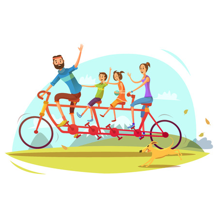 Illustration for Family and bicycle cartoon concept with parents son and daughter vector illustration - Royalty Free Image
